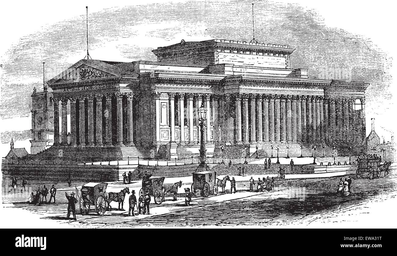 St George's Hall on Lime Street in Liverpool, England, during the 1890s, vintage engraving. Old engraved illustration - Stock Vector