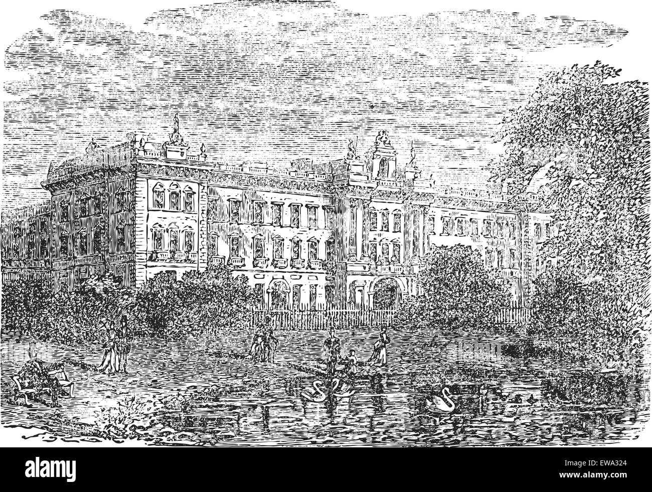 Buckingham Palace or Buckingham House in London, England, during the 1890s, vintage engraving. Old engraved illustration - Stock Vector