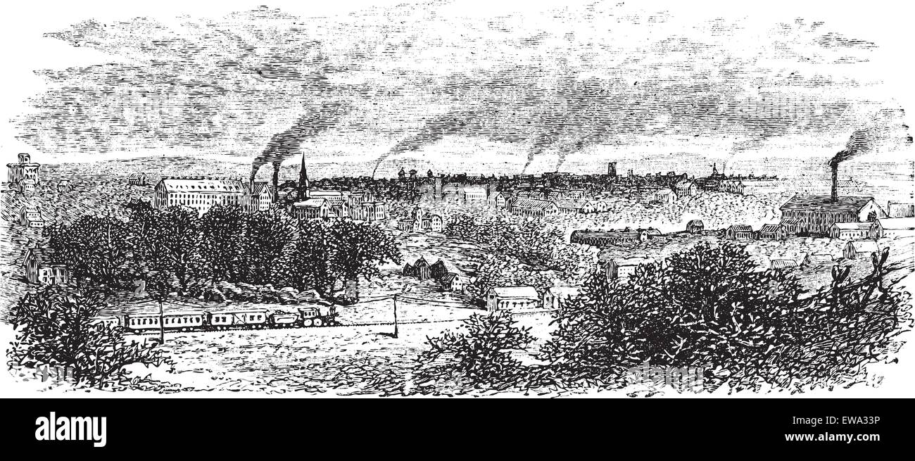 Macon or Heart of Georgia in Georgia, US, during the 1890s, vintage engraving. Old engraved illustration of Macon - Stock Vector
