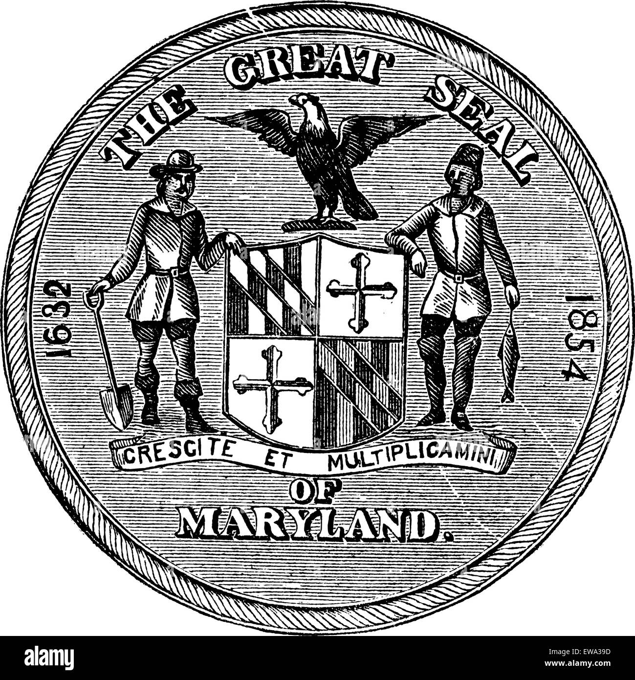 Great Seal of the State of Maryland, United States, vintage engraving. Old engraved illustration of Great Seal of - Stock Image