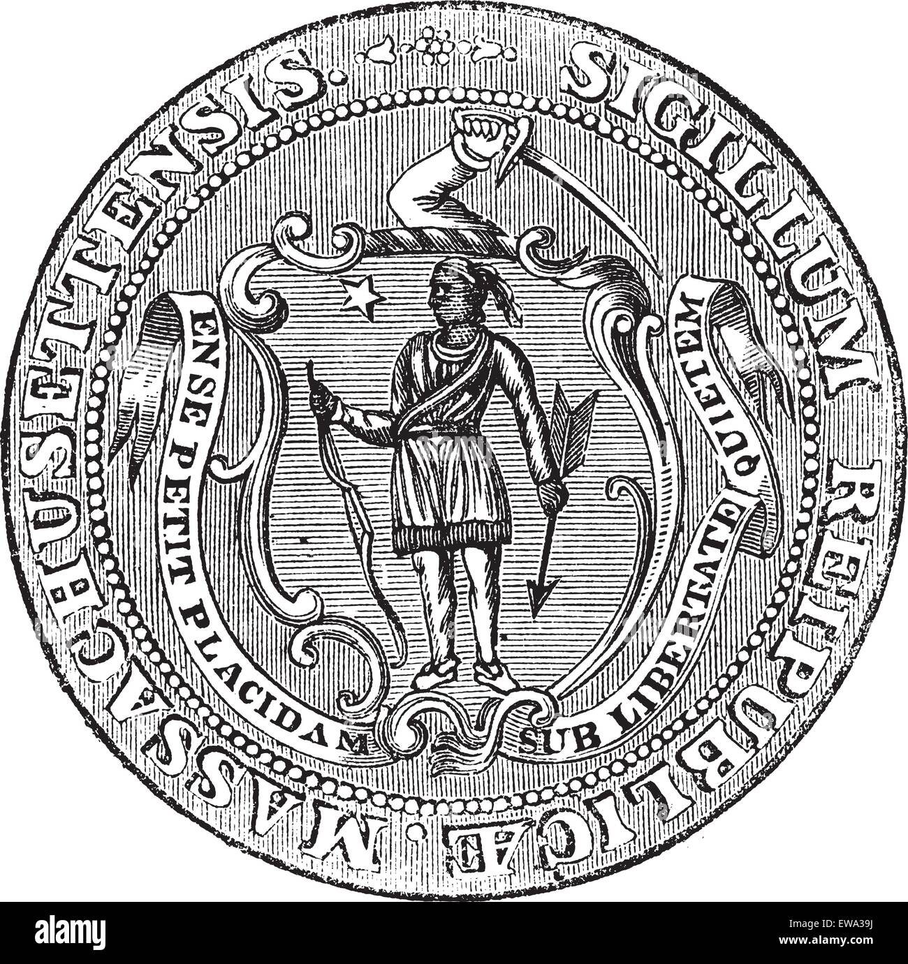 Great Seal of the Commonwealth of Massachusetts or the Seal of the Republic of Massachusetts, United States, vintage - Stock Image