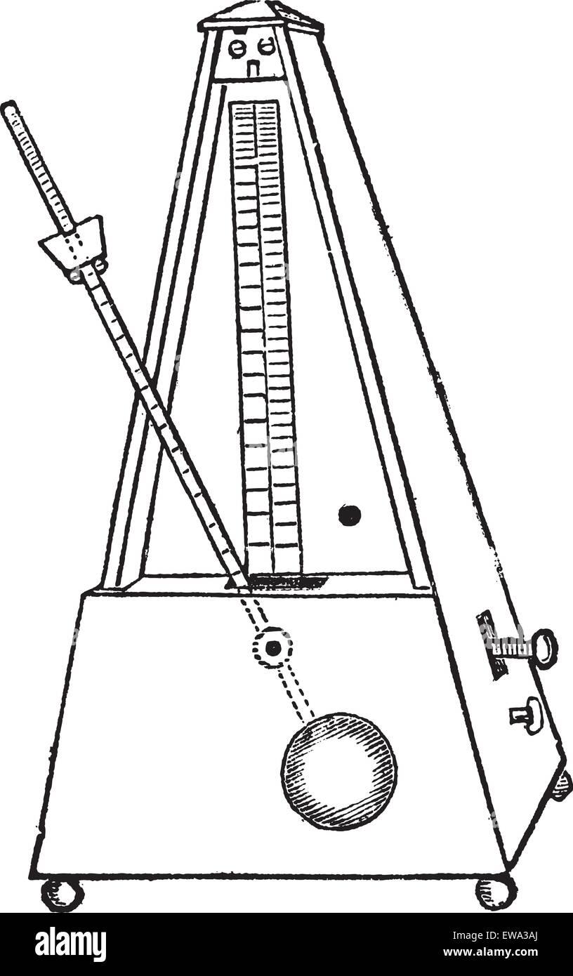 Metronome isolated on white, vintage engraved illustration. Trousset encyclopedia (1886 - 1891). - Stock Image