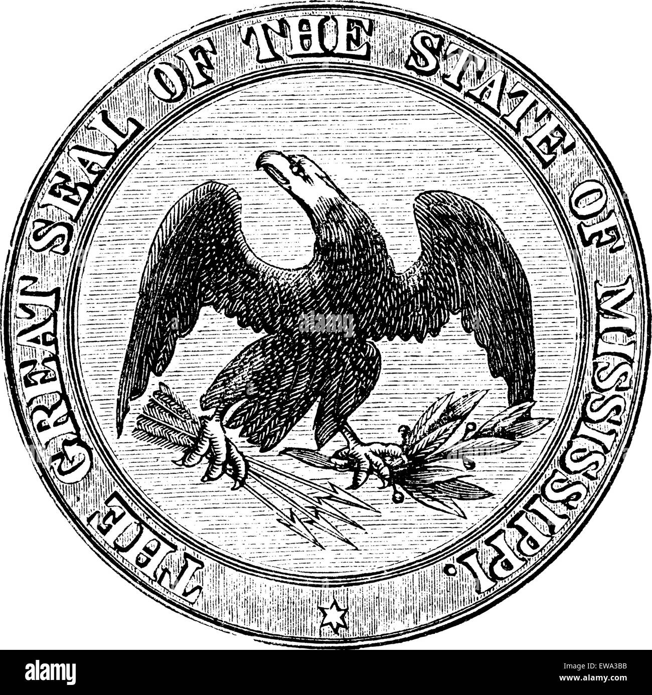 Seal of the State of Mississippi, vintage engraved illustration. Trousset encyclopedia (1886 - 1891). - Stock Image