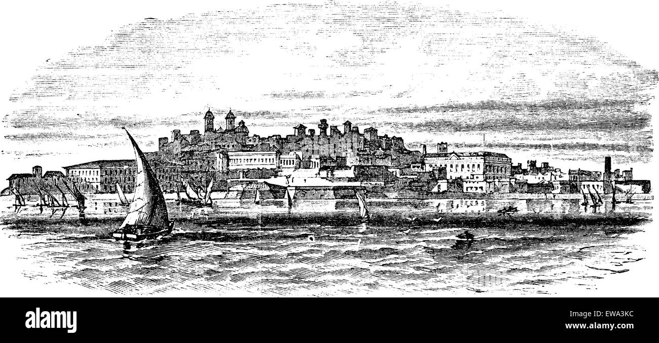 Montevideo, capital city of Uruguay, vintage engraved illustration. - Stock Image