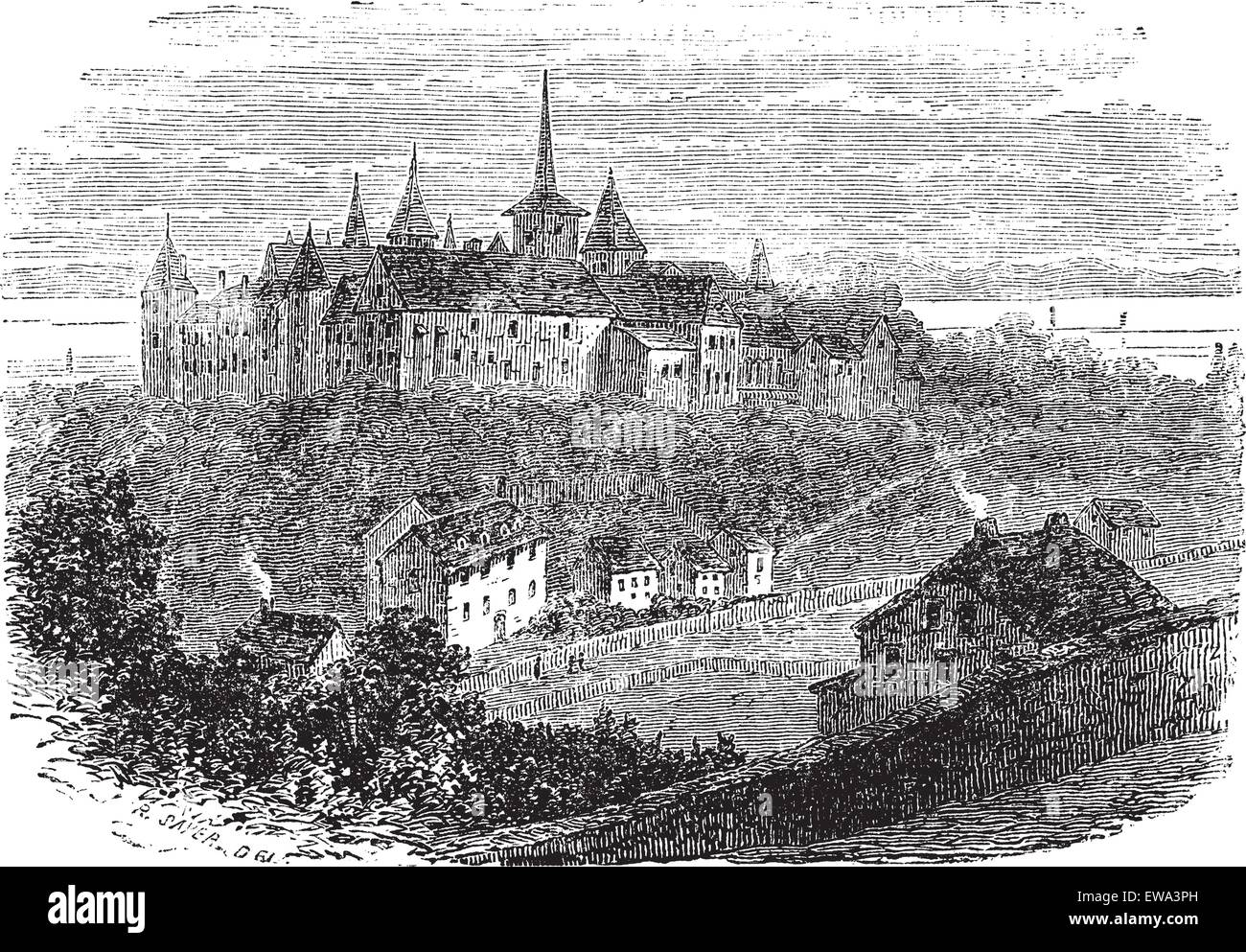 Chateau du Val-Boury in Neufchatel-en-Bray, France, vintage engraved illustration. Trousset encyclopedia (1886  - Stock Image