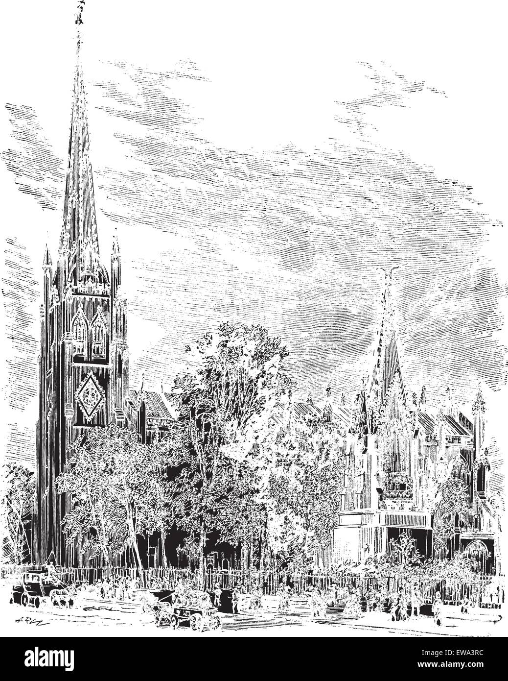 Trinity Cathedral in Newark, New Jersey, USA, vintage engraved illustration. Trousset encyclopedia (1886 - 1891). - Stock Vector
