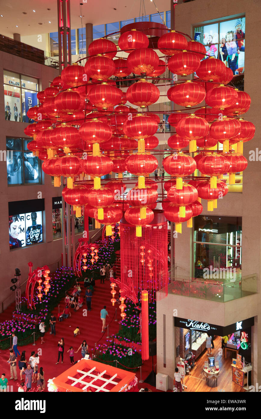 Huge Chinese New Year lantern decoration hanging high at ...