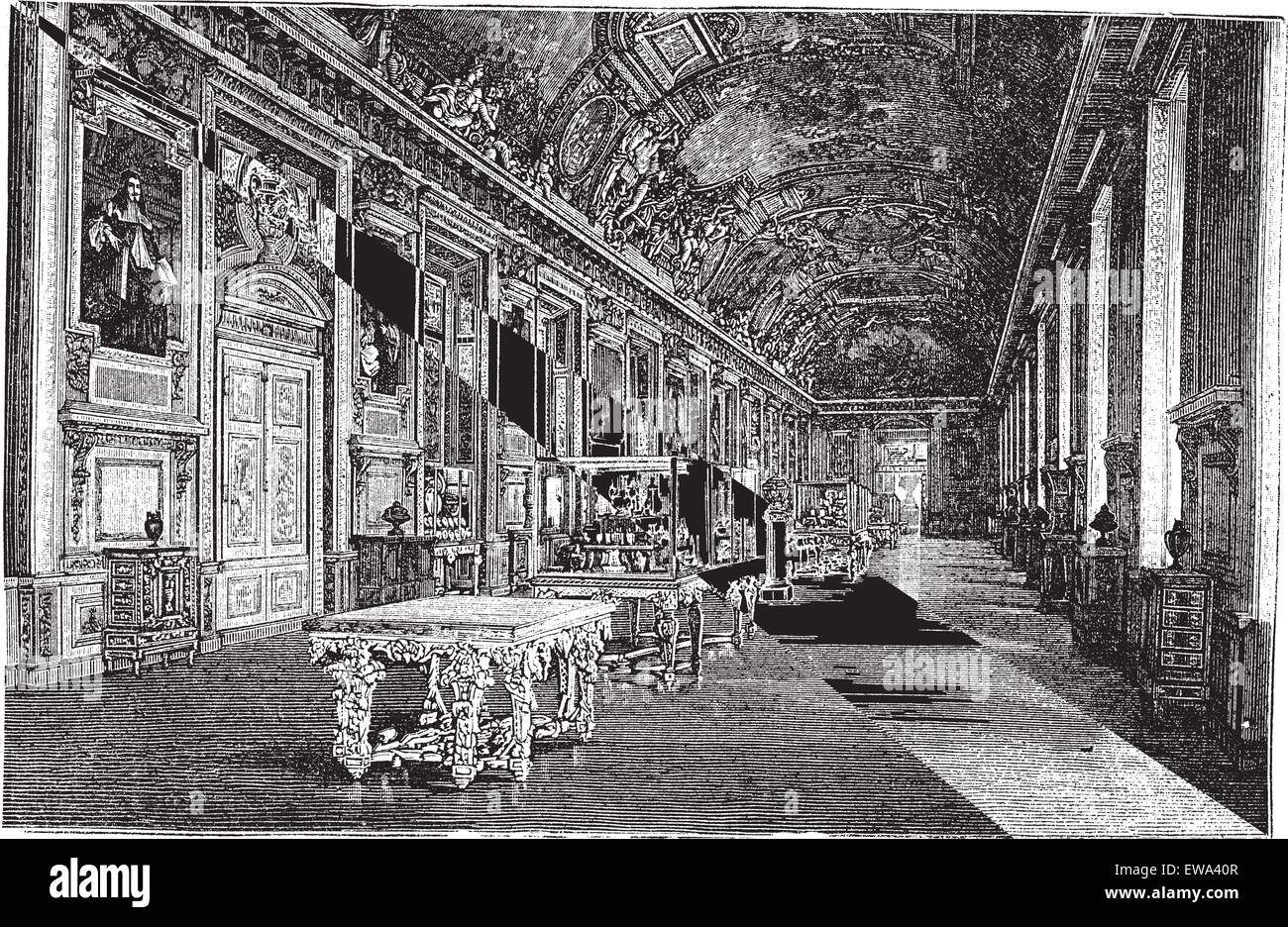 Apollo Gallery at Louvre Museum in Paris, France, during the 1890s, vintage engraving. Old engraved illustration - Stock Vector
