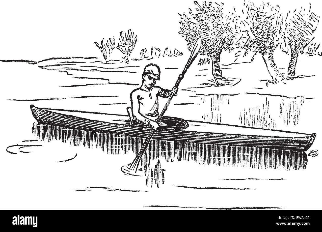 Canoe or Canadian canoe, vintage engraving. Old engraved illustration of man canoeing in the lake. - Stock Vector