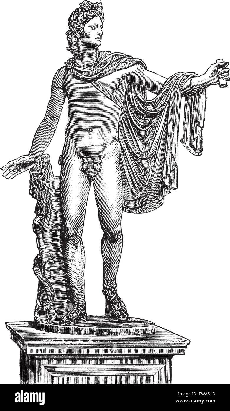 Apollo Belvedere or Apollo of the Belvedere or Pythian Apollo in Vatican City, vintage engraving. Old engraved illustration - Stock Vector