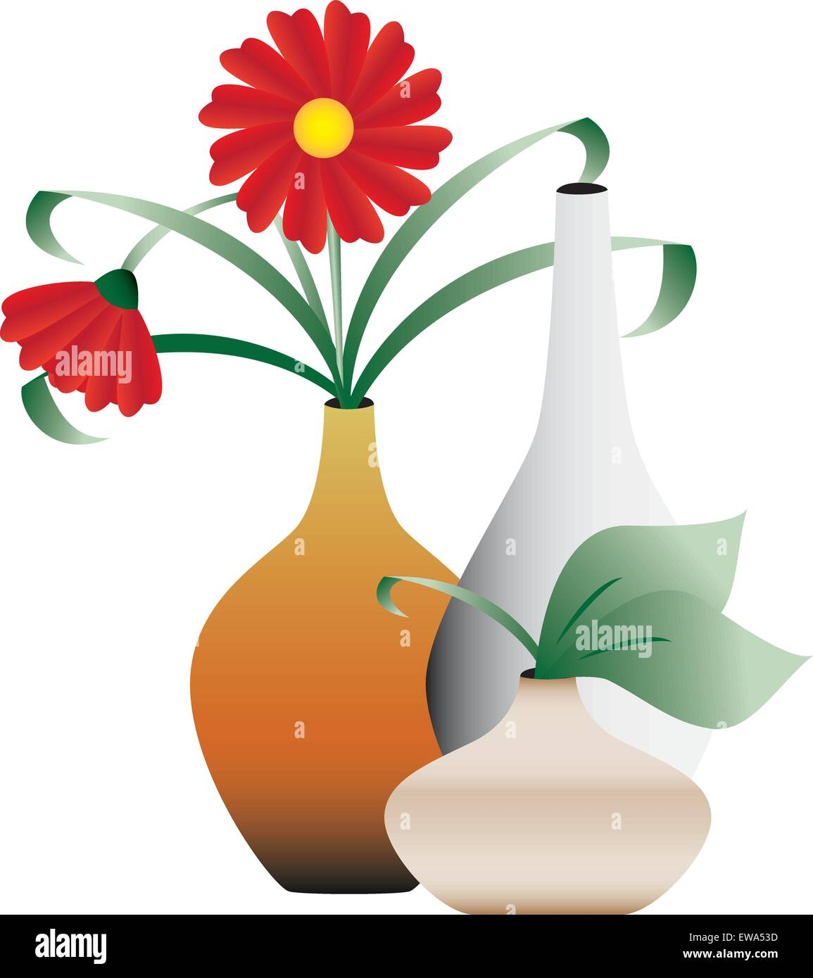 Blossoming flowers in vases - Stock Image