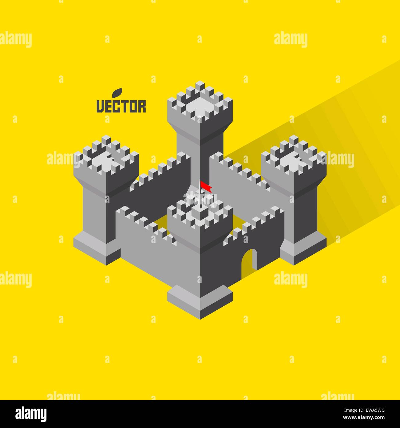 Castle. Medieval fort with defense towers. 3D vector Illustration. - Stock Vector