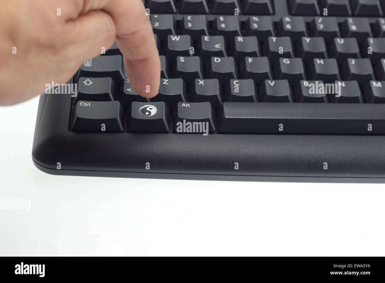 Ying Yang Symbol On Computer Keyboard Stock Photos Ying Yang