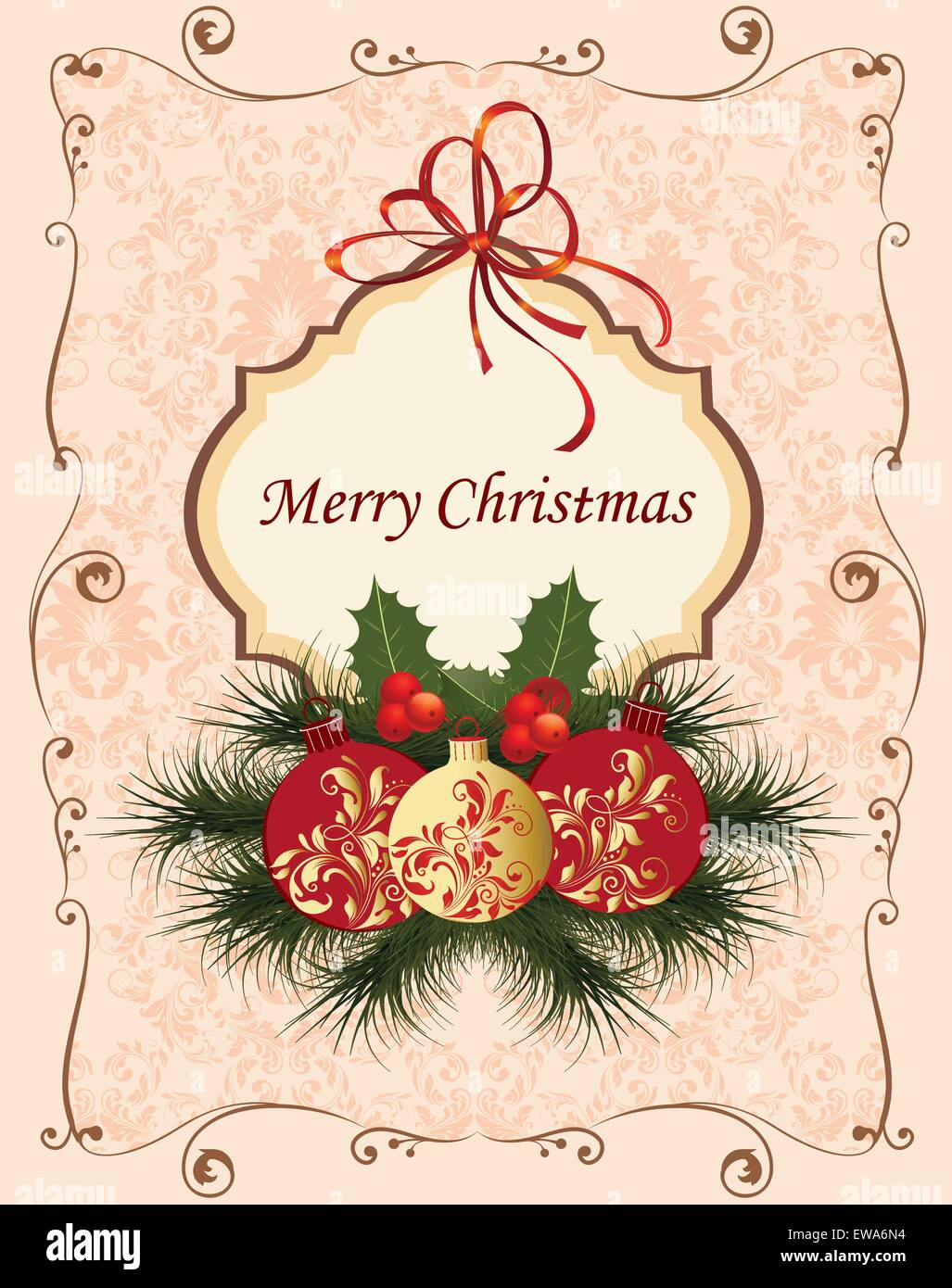 vintage christmas card with ornate elegant retro abstract floral design balls with red and gold flowers and leaves on pale pink and beige background with