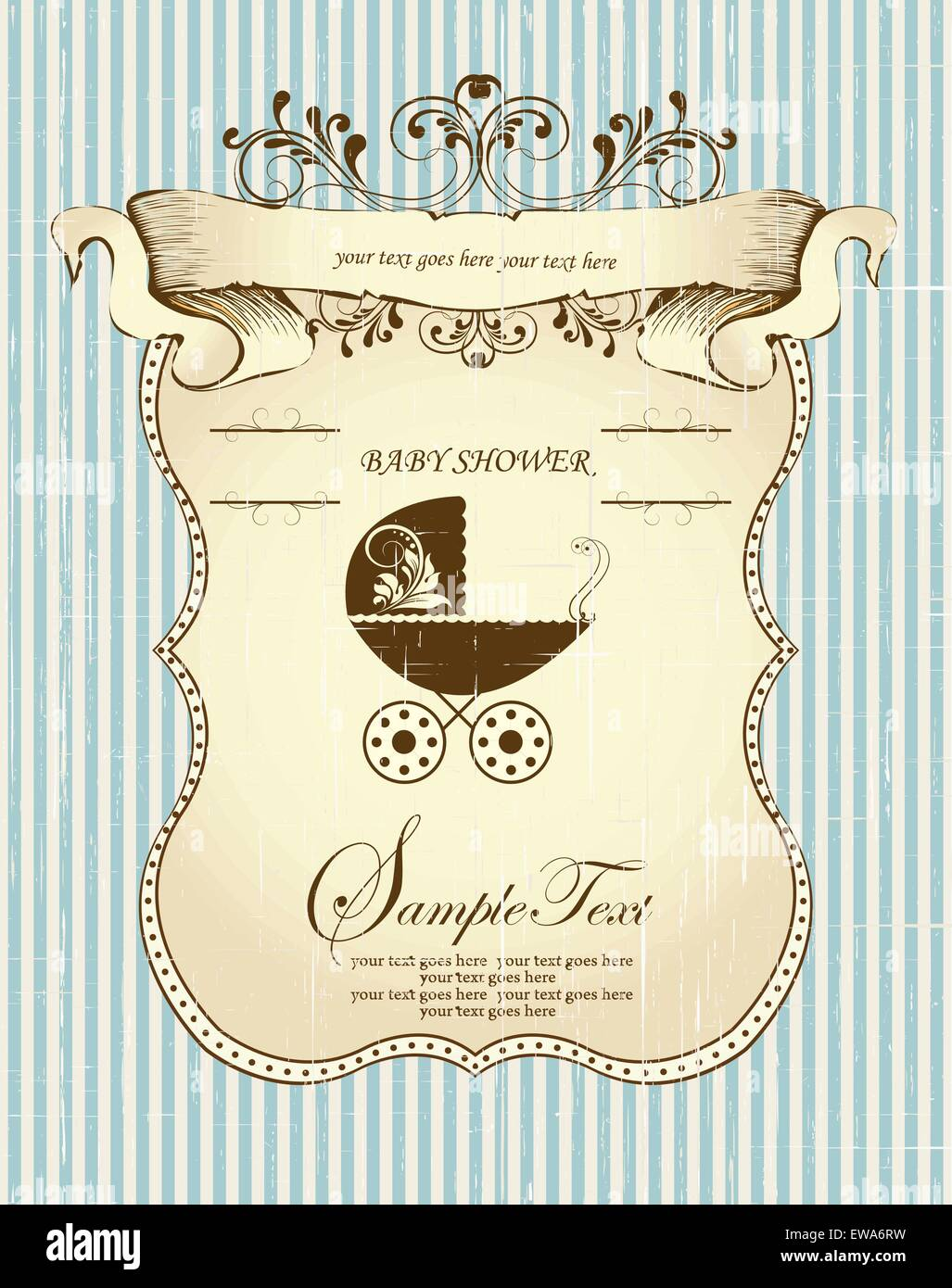 Vintage baby shower invitation card with ornate elegant retro Stock ...