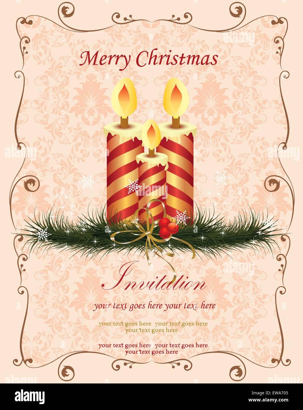 Vintage christmas card with ornate elegant retro abstract floral vintage christmas card with ornate elegant retro abstract floral design red and gold striped candles on light orange pink m4hsunfo