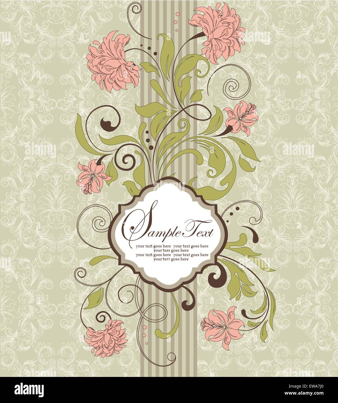 Vintage invitation card with ornate elegant retro abstract floral peach and olive green flowers and leaves on pale green and white background with striped ribbon vector illustration vintage invitation card stopboris Image collections
