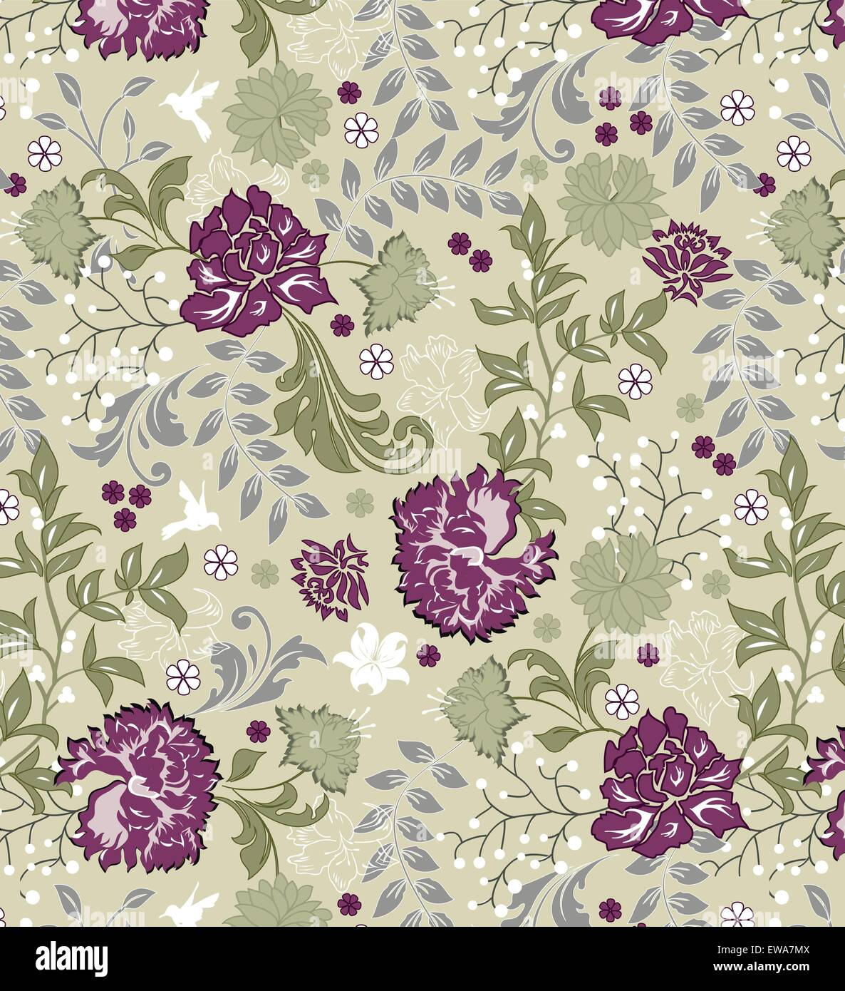 Vintage background with ornate elegant retro abstract floral design, multi-colored flowers and leaves on light green. - Stock Image