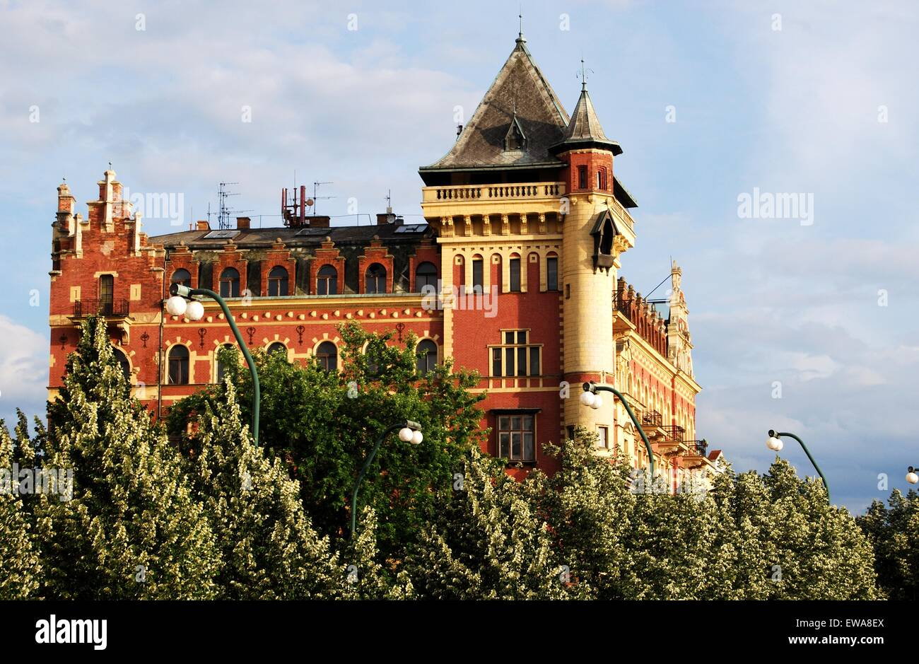 View of the Dutch Renaissance Bellevue building alongside the Smetana Quay, Prague, Czech Republic, Eastern Europe. - Stock Image