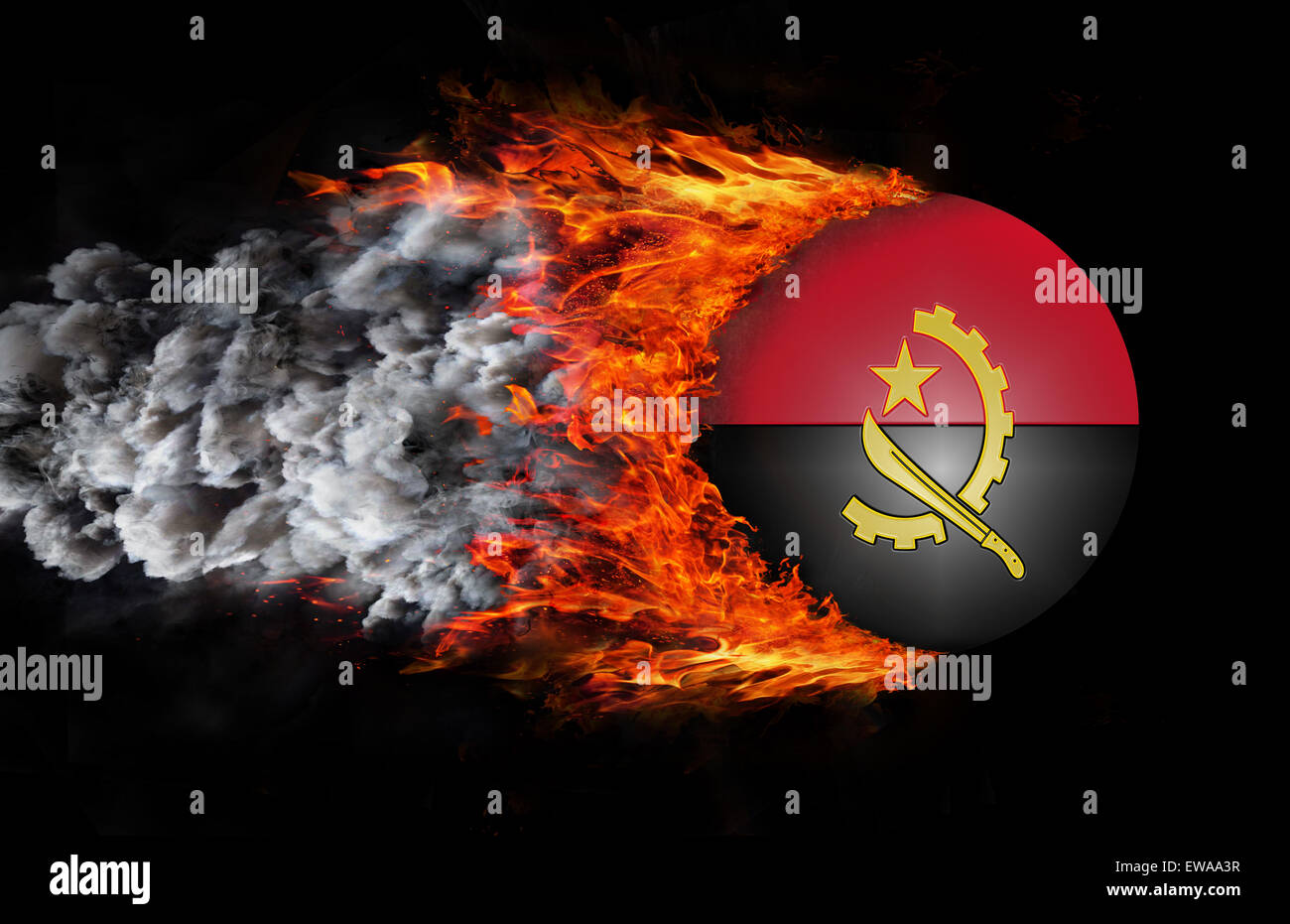 Concept of speed - Flag with a trail of fire and smoke - Angola Stock Photo