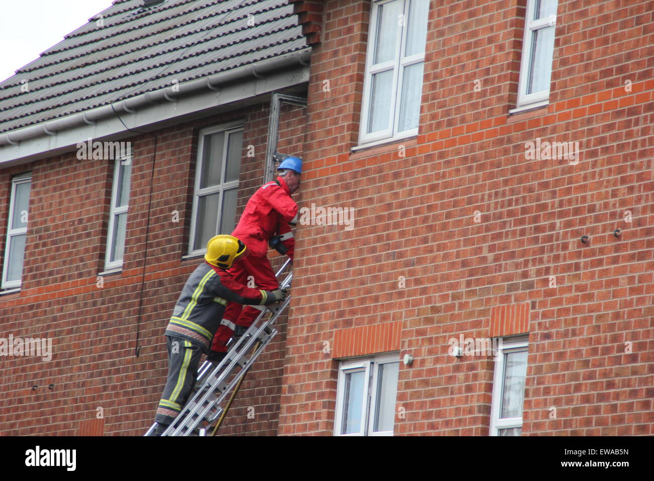 Langley Mill, Derbyshire UK. 21 June 2015. Three people have died in a house fire in Langley Mill. Police were called - Stock Image