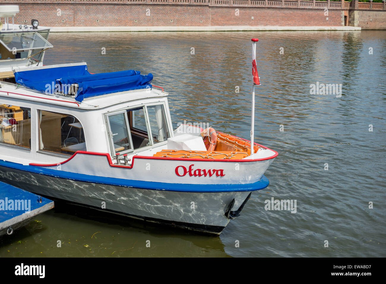 Cruising boat on Odra River Wroclaw - Stock Image