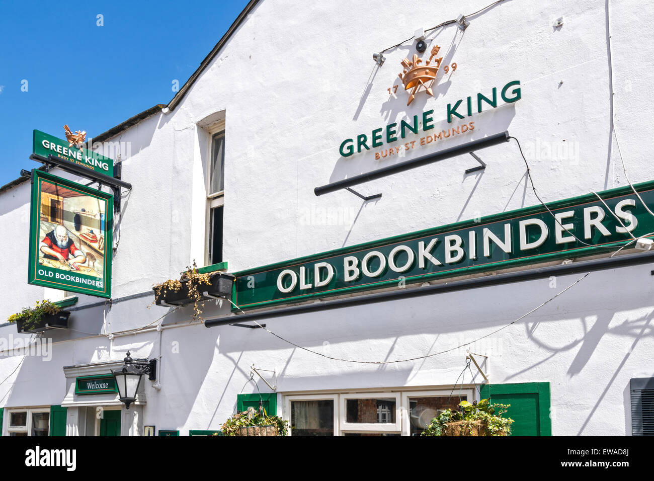 OXFORD CITY JERICHO THE OLD BOOKBINDERS INN AND SIGN - Stock Image