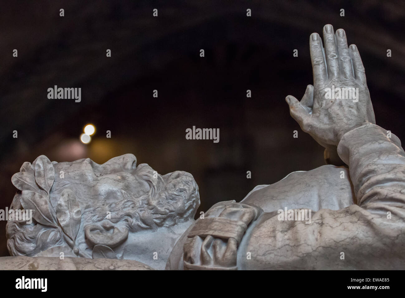 Close detail view of the Tomb of the discoverer of the sea route to India, Vasco da Gama in the Jeronimos monastery, - Stock Image