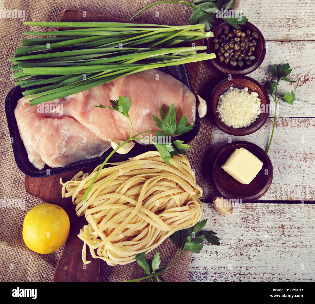 Cooking Ingredients With Chicken Fillets And Pasta - Stock Image