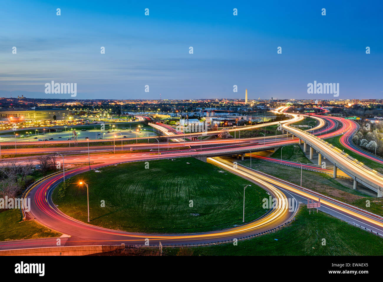 Washington, D.C. skyline with highways and monuments. - Stock Image