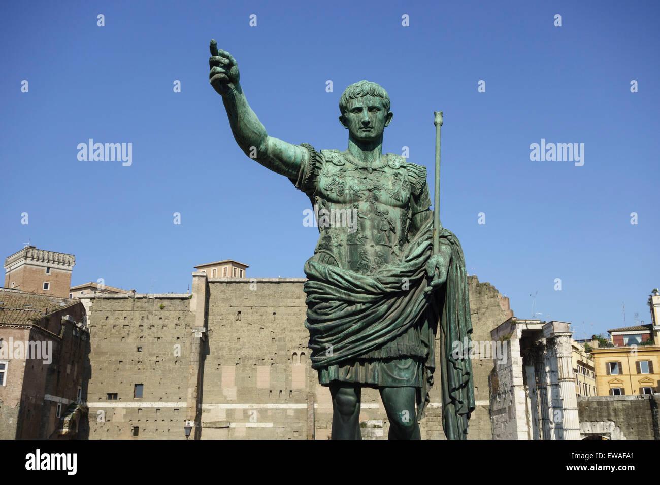 Statue of Roman Emperor Augustus on the via dei Fori Imperiali Stock Photo
