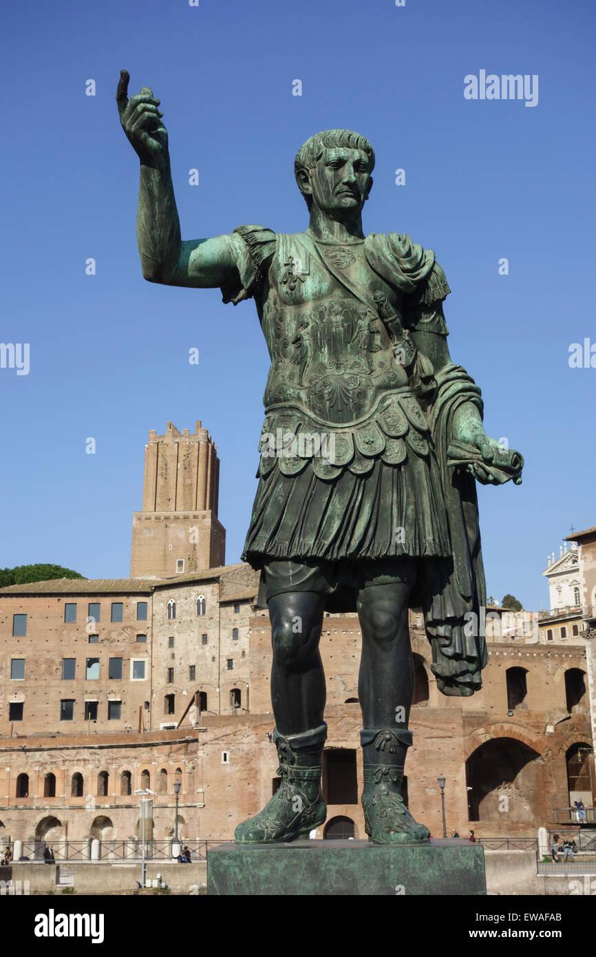Statue of Roman Emperor Trajan on the via dei Fori Imperiali Stock Photo