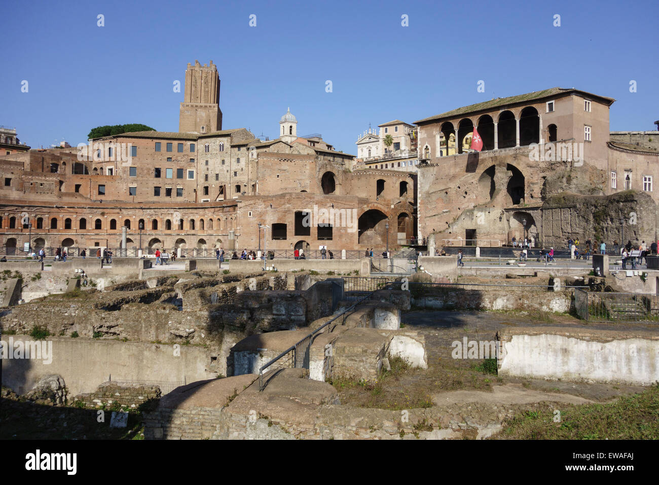 Ancient remains of the Trajan's Market and the House of the Knights of Rhodes, right, Rome Italy Stock Photo