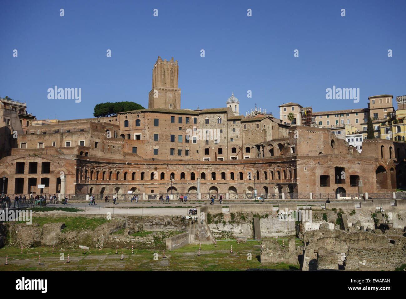 Ancient remains of the Trajan's Market Rome Italy Stock Photo
