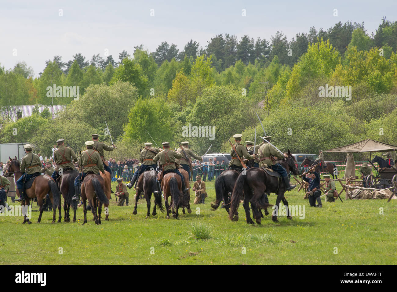 RUSSIA, CHERNOGOLOVKA - MAY 17: Cavalry with swords ride on horses on History reenactment of battle of Civil War - Stock Image