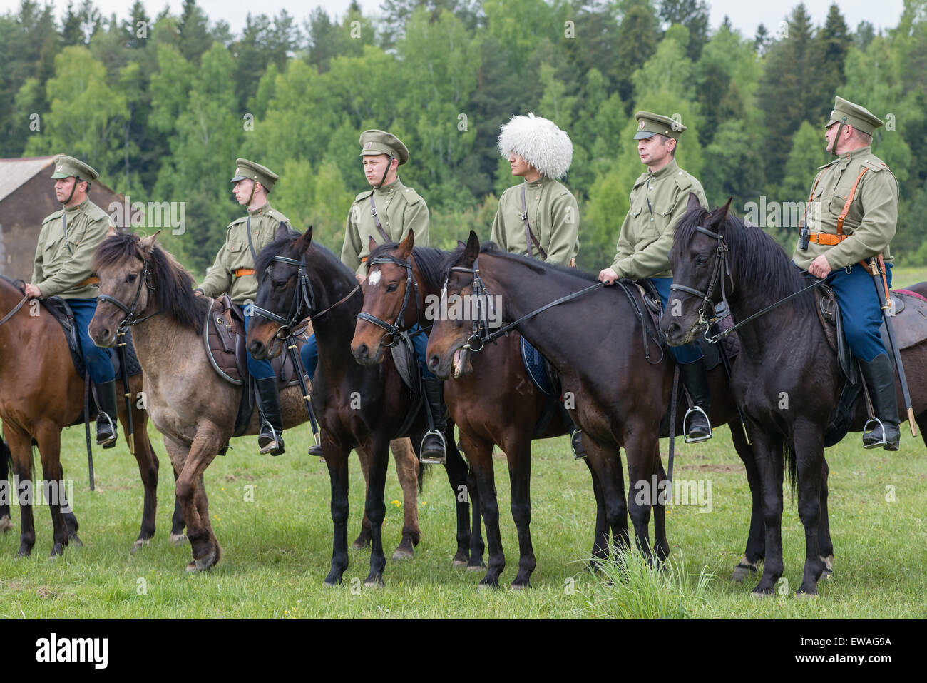 RUSSIA, CHERNOGOLOVKA - MAY 17: Cavalry soldiers stands in row on History reenactment of battle of Civil War in - Stock Image