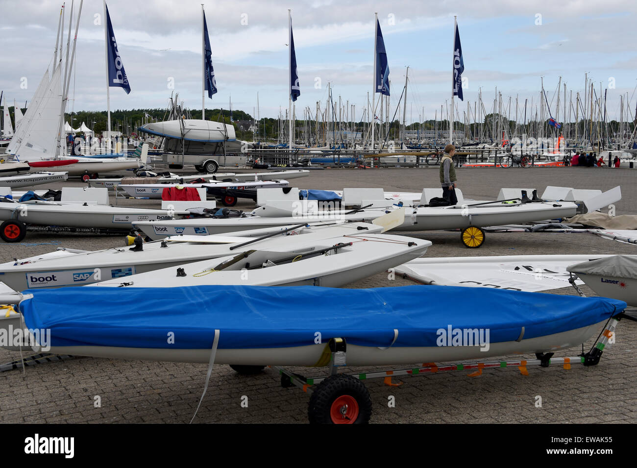 Kiel, Germany  21st June, 2015  Competition boats stand on