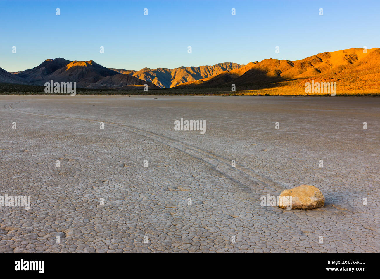 Sunrise at the Racetrack in Death Valley National Park in California, USA - Stock Image
