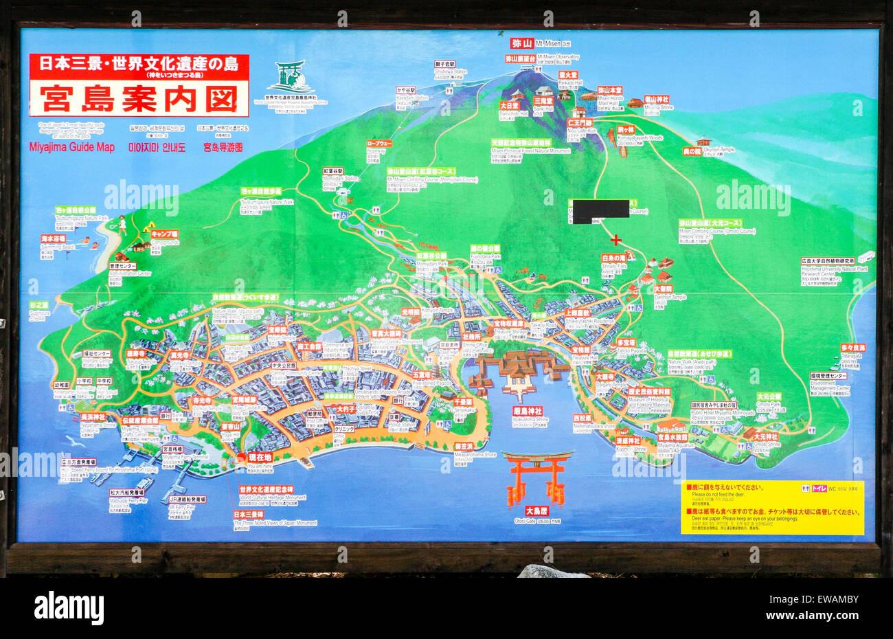 Japan Miyajima island Hiroshima Tourist information map board