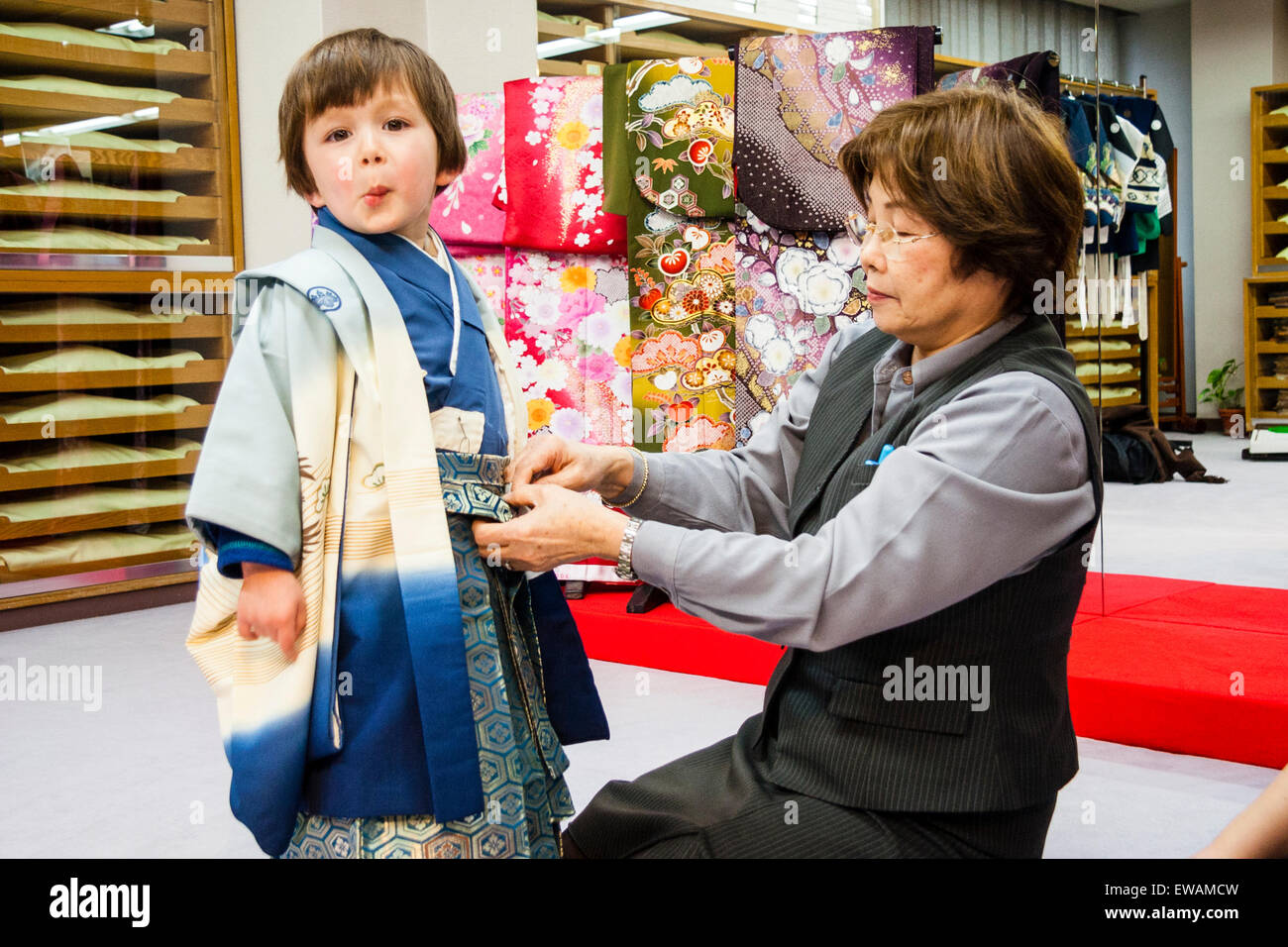Interior With Japanese Mature Woman Dressing Young Mixed Race