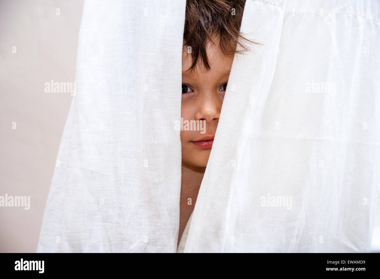 3 to 5 year old Caucasian boy. Indoors. Face poking out through net curtains, ruffled hair. Facing - Stock Image