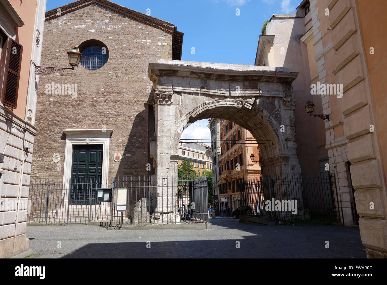 Triumphal Arch of Gallienus and the church of San Vito Rome Italy Stock Photo