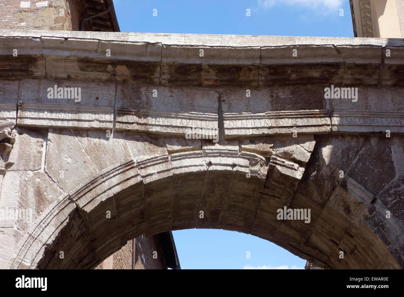 Triumphal Arch of Gallienus Rome Italy Stock Photo