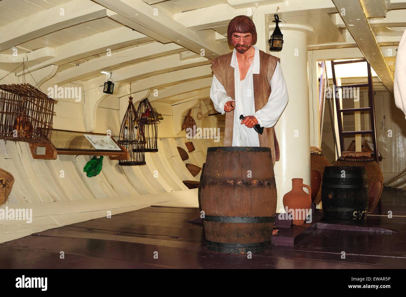 The inside of the replica of the caravel La Pinta. Baiona, Pontevedra, Spain - Stock Image