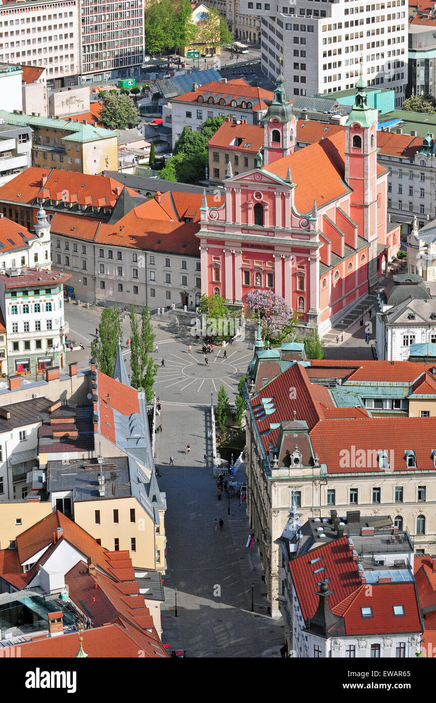 Aerial view of Preseren square and St. Francis church in Ljubljana - Stock Image