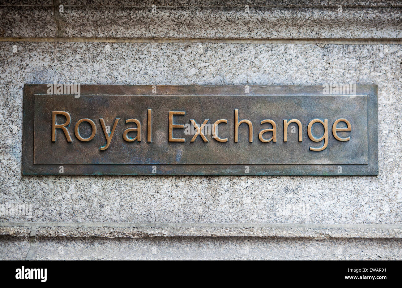 A plaque on the exterior of the Royal Exchange in the City of London. - Stock Image
