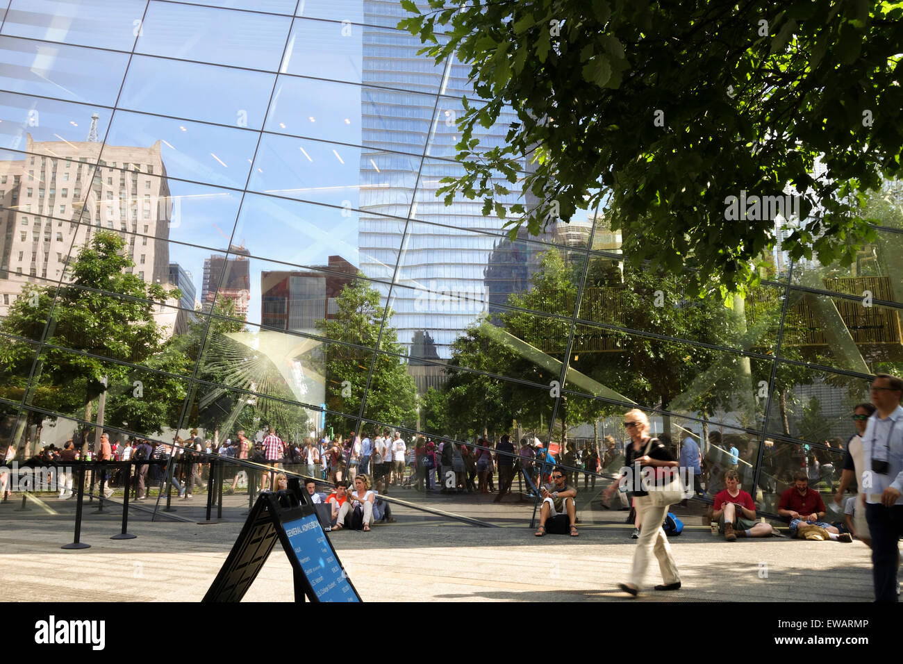 Reflection in glass windows of National September 11 Memorial & Museum, New york City, USA. - Stock Image