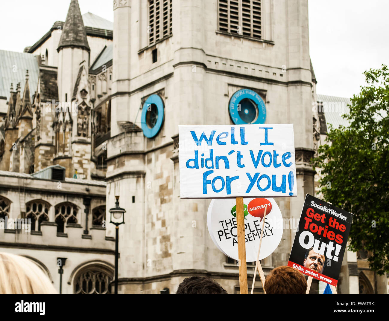 A sign at the anti-austerity march in London, June 2015 - Stock Image