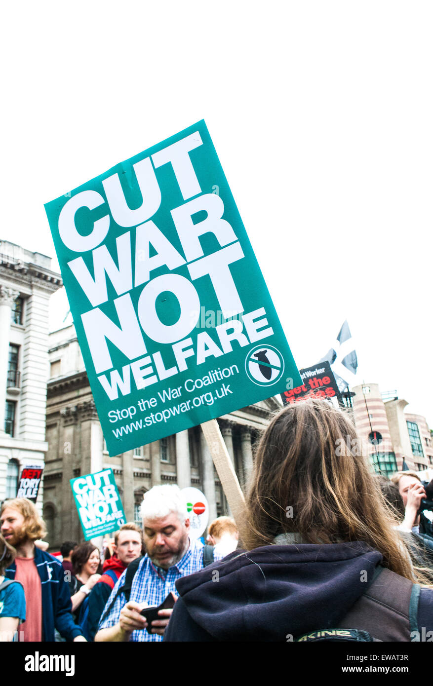 Anti Austerity sign at the London Protest, June 2015 - Stock Image