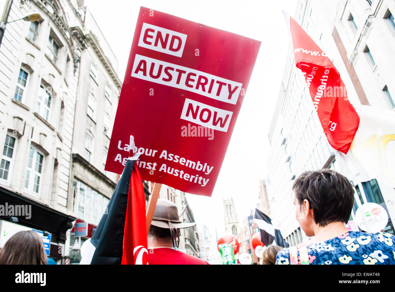 A  protest sign at the Anti Austerity march in London United kingdom 2015 - Stock Image